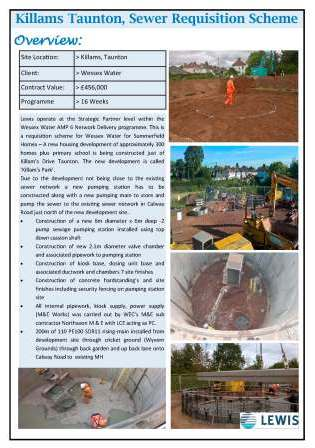 Killams Taunton, Sewer Requisition Scheme