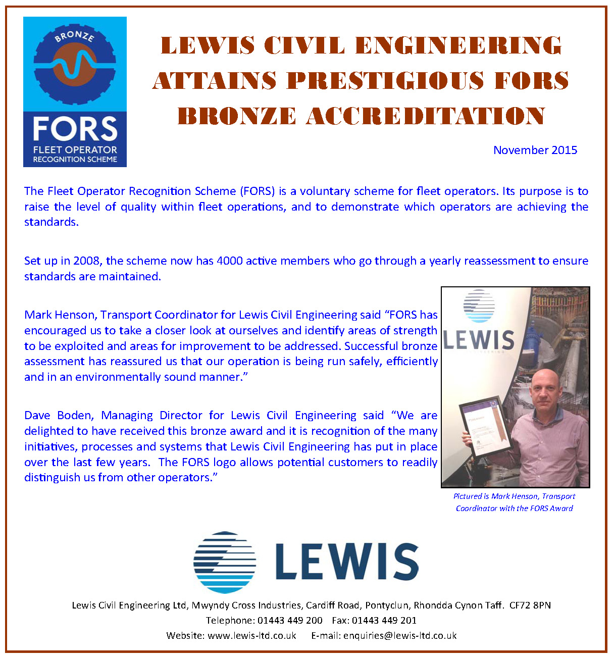LEWIS ATTAINS PRESTIGIOUS FORS BRONZE ACCREDITATION