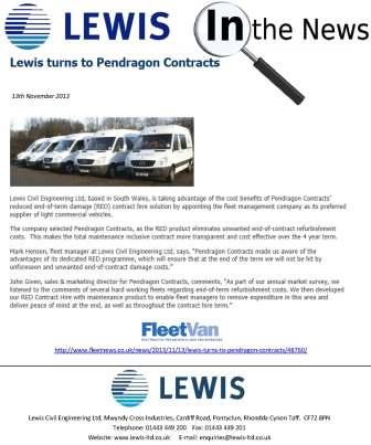 Lewis turns to Pendragon Contracts