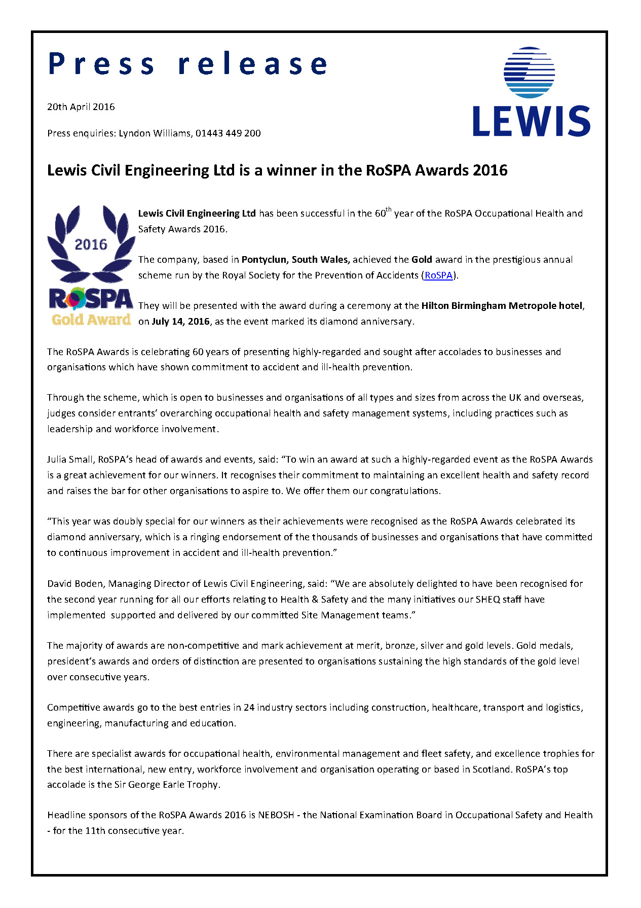 Lewis Civil Engineering Ltd is a winner in the RoSPA Awards 2016